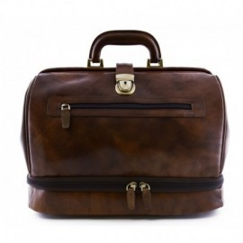 Genuine Leather Doctor Bag, Double bottom and front pocket  - Code: medico_imp_giglio
