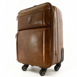 Genuine Leather Travel Trolley with 4 multi directional wheels  - Code: 1851-20
