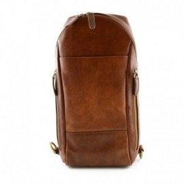 Man Backpack in Genuine Leather with 2 Side Pockets  - Code: 9996