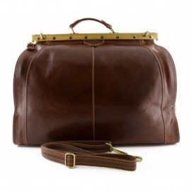 Genuine Leather Travel Bag with Metal Closure  - Code: 2005