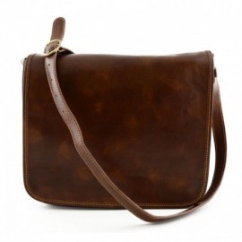 Genuine Leather Messenger Bag 2 Compartments  - Code: 1938_lo2511