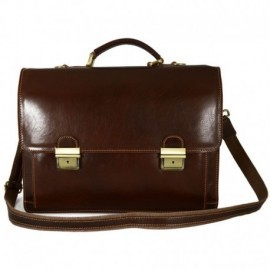 Genuine Leather Business Briefcase with 3 Compartments and 2 Buckles  - Code: 1070
