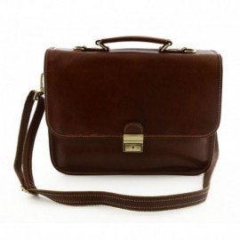 Genuine Leather Business Briefcase with 2 Compartments  - Code: 224