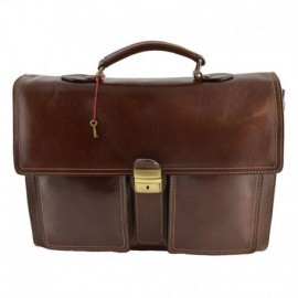 Business Briefcase in Genuine Leather 3 compartments  - Code: 1010