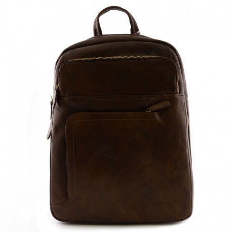 Genuine Leather Man Backpack with laptop padded pocket  - Code: 9984