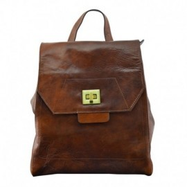 Genuine Leather Woman Backpack with 3 Compartments  - Code: jj005