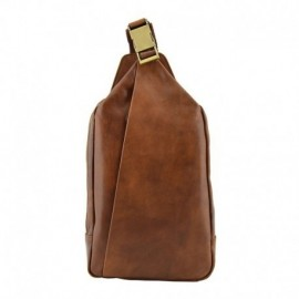 Genuine Leather Mono Shoulder Strap Man Backpack  - Code: jj004